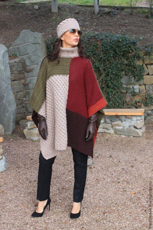 Купить Вязаное Пончо''Сочные краски Осени'' - вязаный кардиган, кардиган, кардиган вязаный, пончо