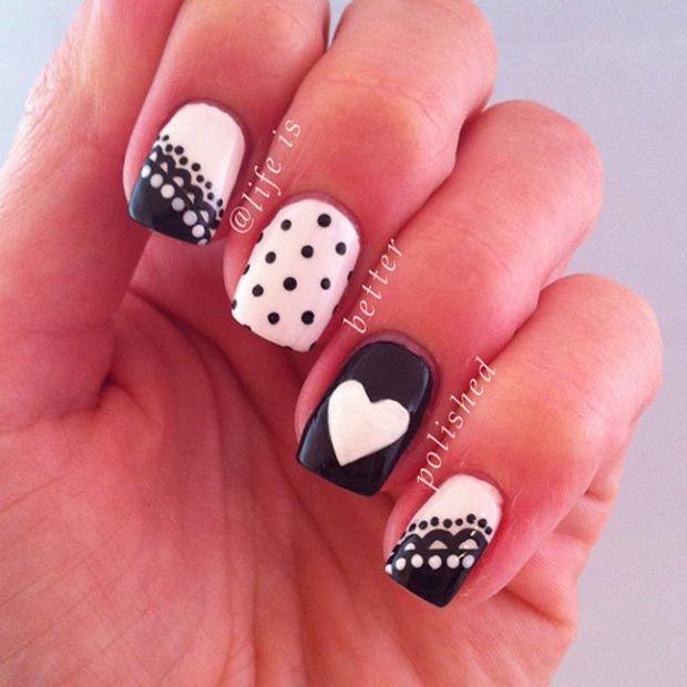 50 Best Black and White Nail Designs | White nail designs, White nails and  Beauty ideas - 50 Best Black And White Nail Designs White Nail Designs, White