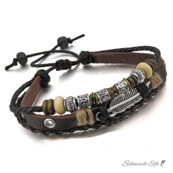 Leder Armband vintage Feder Edelstahl dkl. braun  im...