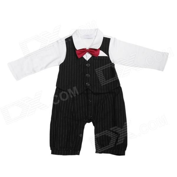 HY077 Lazo rojo de los trajes de manga larga infantil del mameluco del bebé del paño - Negro + blanco + rojo (tamaño-S)