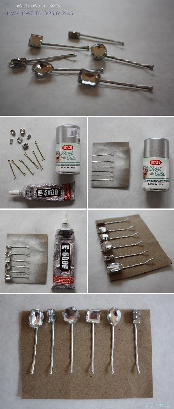 Pretty Silver Jeweled Bobby Pins- Easy DIY