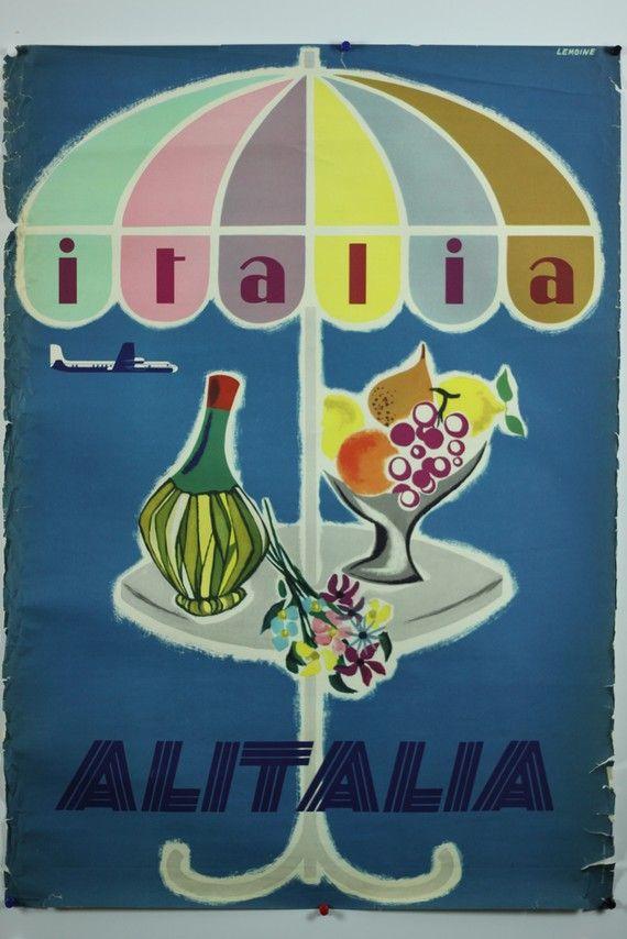 Original Vintage Travel Poster Italia Italy est. 1950-60's