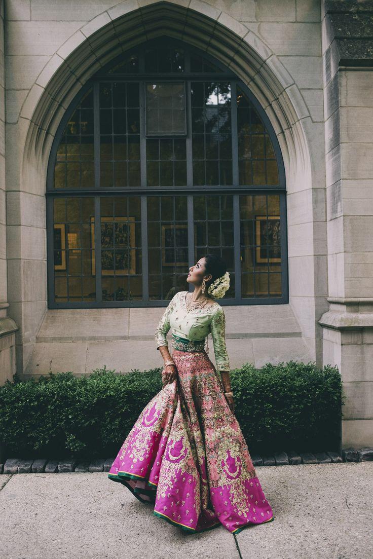 Pink + Green Ali Xeeshan Lehenga   Sangeet Outfit   South Asian Wedding Blog   Think Shaadi