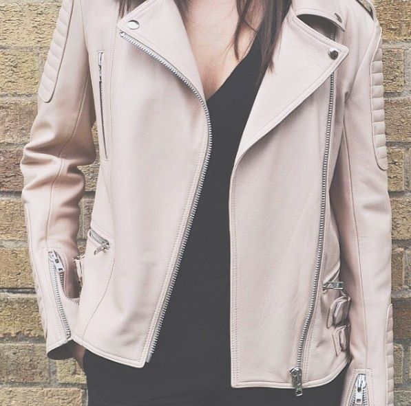 Classic Leather Jacket in Peach #genellondon #peach #leather #fashion
