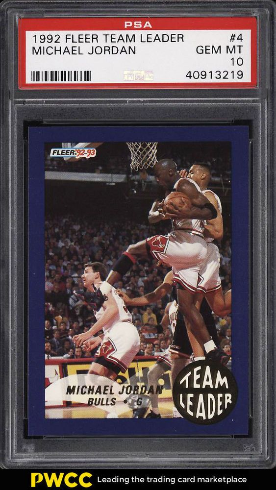 d287f073dd 1992 Fleer Team Leaders Michael Jordan #4 PSA 10 GEM MINT (PWCC)  #MichaelJordan