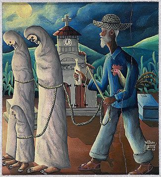 A Zombie (Zonbi) in Haitian culture, derived of Kongo and Twi African cultures, is not merely a figure of the undead. It symbolizes a captive soul, a slave, a body without the power of his/her own volition. (Painting, Wilson Bigaud http://www.umich.edu/~uncanny/zombies.html). Calling Jesus a Zombie on Easter is a huge misunderstanding of both Zombies and Jesus.