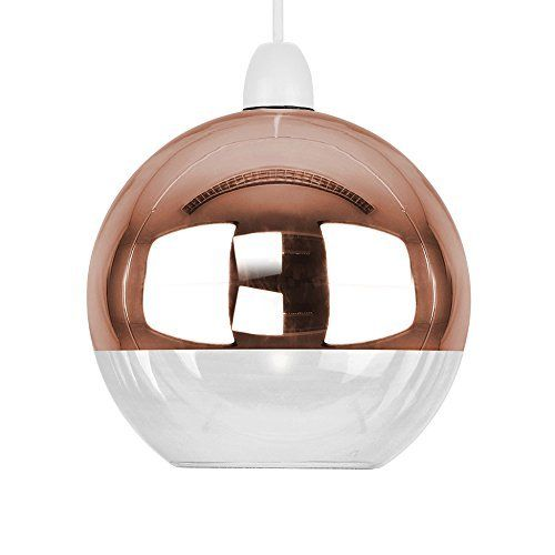 Modern Two Tone Copper Effect & Clear Glass Globe Arco Ball Ceiling Pendant Light Shade