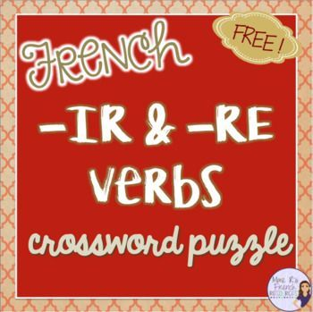 This FREE crossword puzzle is a fun way for students to review the present tense conjugations of regular -ir and -re verbs. Includes teacher key. Click here to download it now!