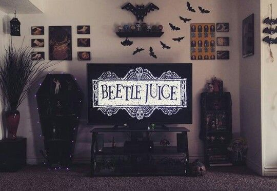 Home spook home. Beatle Juice, Tim Burton. Bats, coffin. #loveeverything