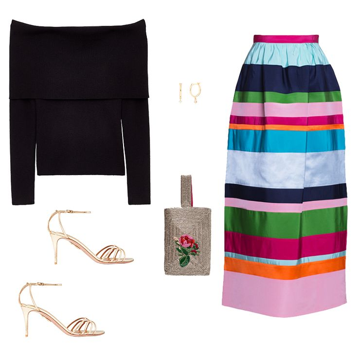 Refreshingly Feminine - The holidays needn't be all red, green and metallic shades. Stand out in a multi-colored skirt with a bit of sheen and an off-the-shoulder knit to temper. Strappy heels, dainty hoop earrings and a beaded pouch keep it feminine.