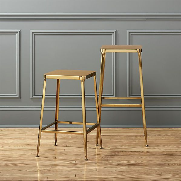 Know we already bought some, but.... are these fun or what?? flint gold bar stools  | CB2
