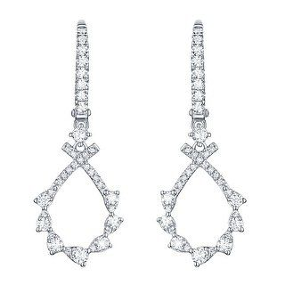 Prism Jewel 0.63Ct Round G-H/SI1 Natural Diamond Drop Dangle Earring