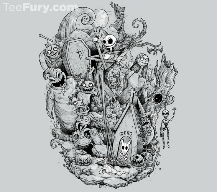 Nightmare in Black and White T-Shirt - Jack Skellington T-Shirt is $11 today at TeeFury!