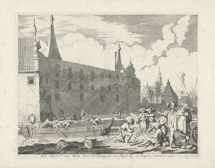 Jan Luyken | Turfschip van Breda, 1590, Jan Luyken, weduwe Joannes van Someren, Abraham Wolfgang, 1681 | Inname van Breda door middel van het turfschip, 4 maart 1590. Heraugières stuurt zijn mannen vanuit het schip het kasteel in. Op de voorgrond Spaanse soldaten rond een kampvuur.