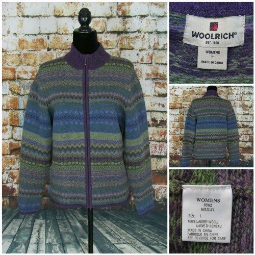 18.69$  Buy now - http://vioec.justgood.pw/vig/item.php?t=zs9wrvu45529 - Woolrich Women's Lambs' Wool Purple Multi Color Zip Up Cardigan Sweater Size L 18.69$