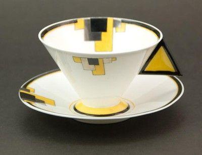 Shelley Vogue Yellow Blocks Art Deco Cup & Saucer 1930 (05/31/2009)
