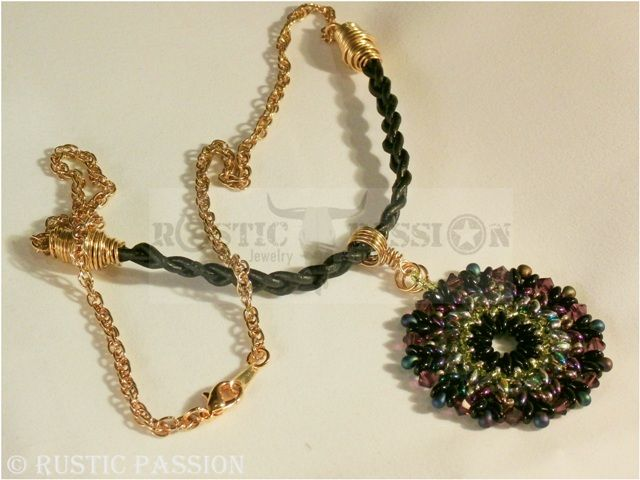 Mandela Pendant-Purple, Black, Gold, and Black Leather with Gold Chain