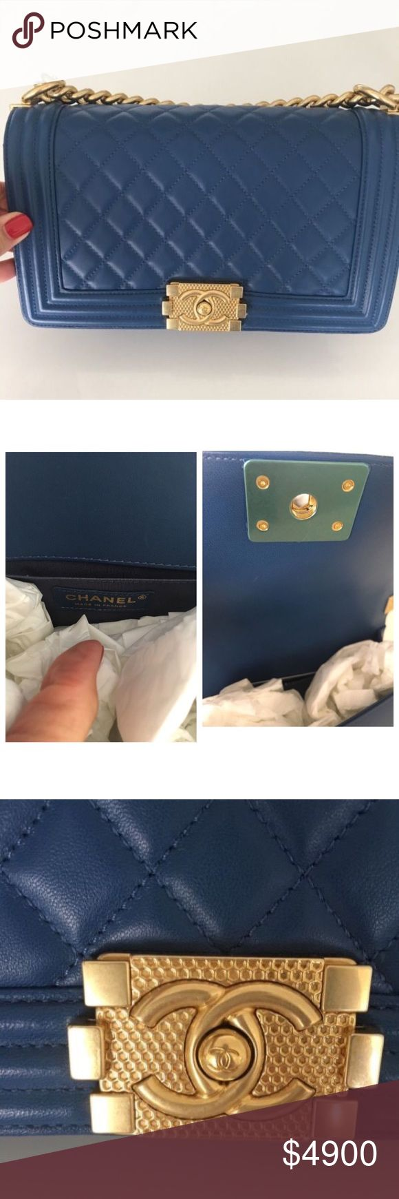 """CHANEL - Classic Boy Bag, Medium Blue BNWT Chanel - Boy Bag in Medium 