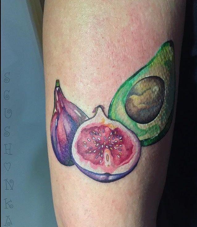 Masha Sgushonka fig and avocado tattoo