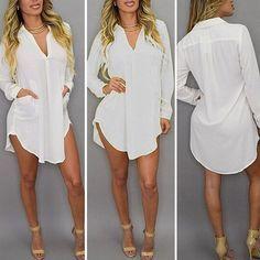 Women Casual Loose Long Chiffon Shirts 2017 Spring Long Sleeve Turn Down Collar Sexy Blouses Tops Plus Size Mini Dress Vestidos