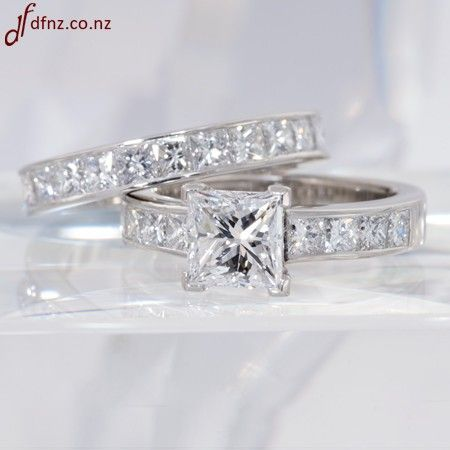 Cute Tiffany Princess Cut wedding band sets Channel Set Shoulders and Matching Princess