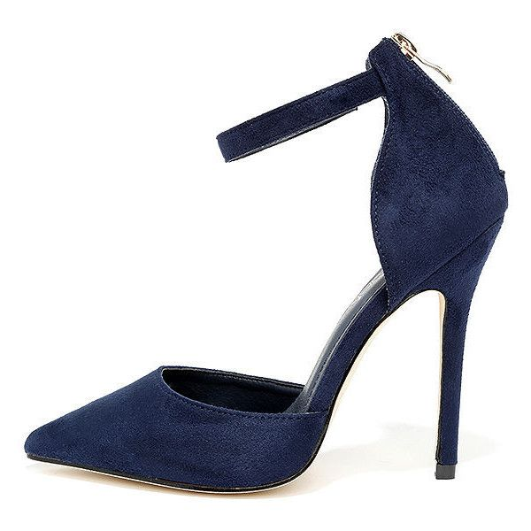 Harvest Party Navy Suede Ankle Strap Heels ($34) ❤ liked on Polyvore featuring shoes, pumps, blue, pointy toe shoes, holiday shoes, navy blue pumps, navy shoes and navy pointed toe pumps