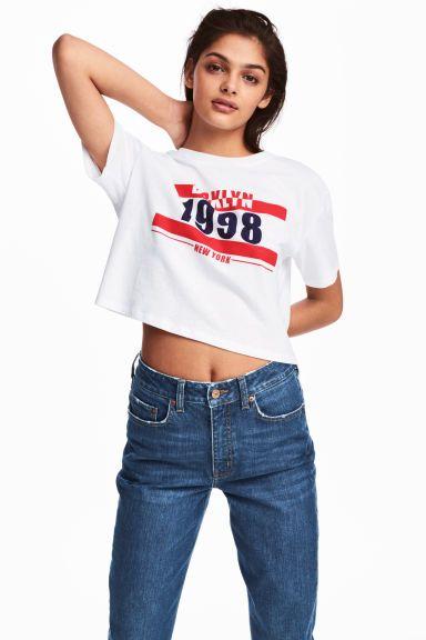 Kort T-shirt - Wit/New York - DAMES | H&M BE 1