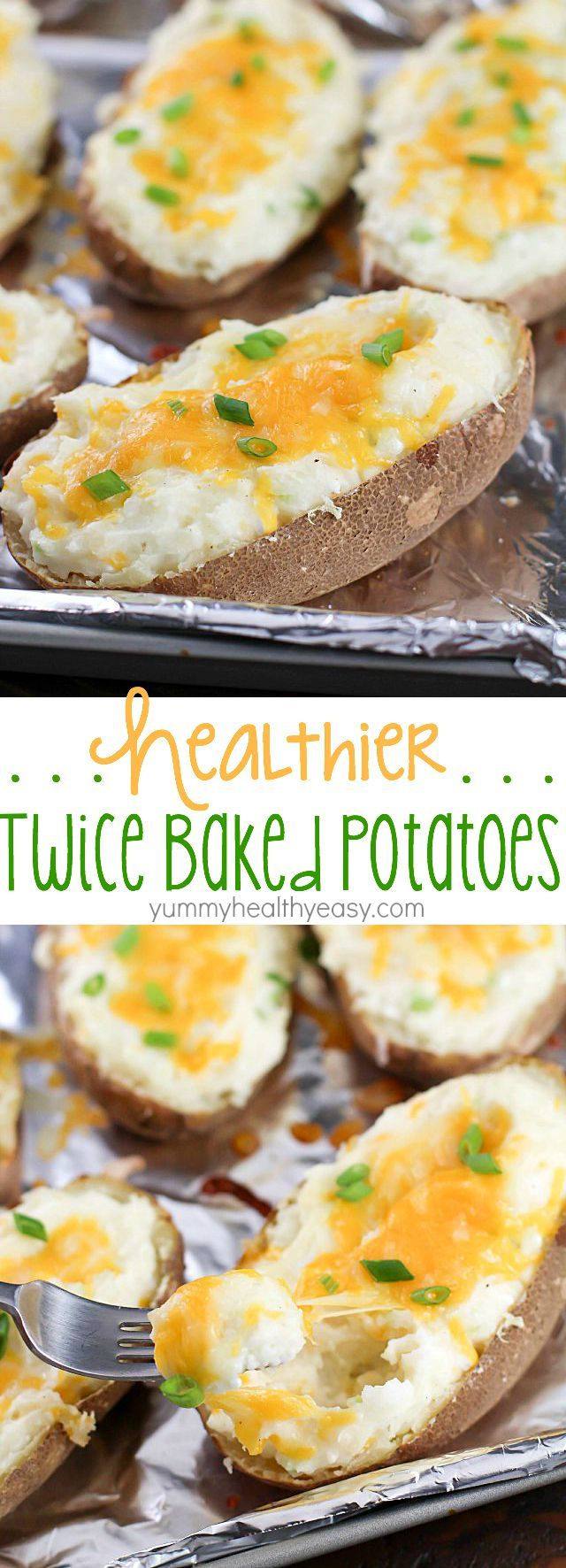 Craving a twice baked potato but don't want all the calories? Make some Healthy Twice Baked Potatoes! With few ingredients and double the flavor, you will LOVE these!