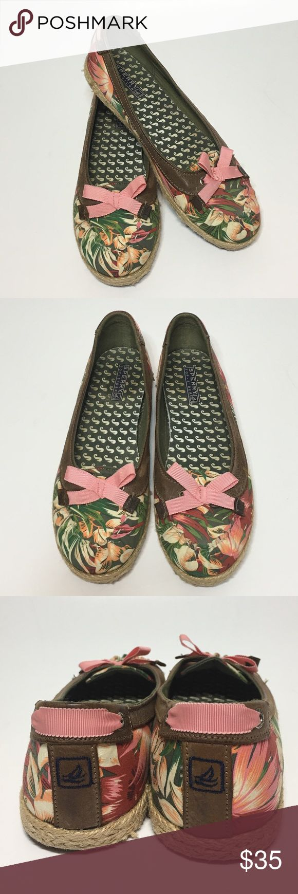 Sperry Top Sider Martinique Floral Espadrilles Sperry Top Sider Martinique floral boat shoe espadrilles ballet flats. They are a size 10. Has a brown leather trim around opening and canvas outer. These are a very cute pair of shoes!! The floral patter is beautiful! Sperry Top-Sider Shoes Espadrilles