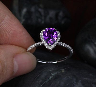 1.88ct VVS Pear Dark Purple Amethyst /Diamonds in 14k White Gold Engagement Ring