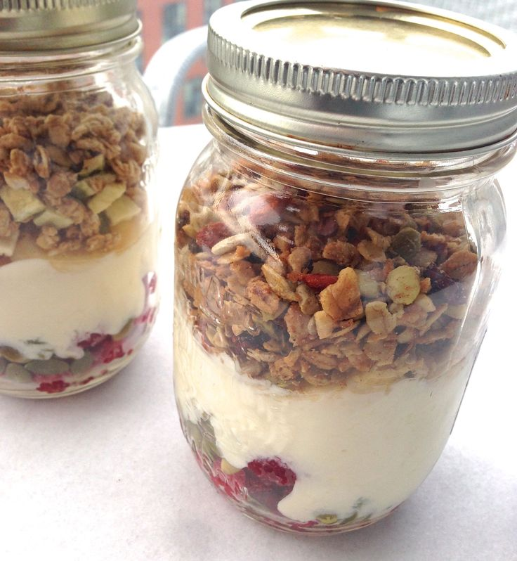 Directions  Use a small mason jar. Level the bottom with 1/3 cup dark berries. Add ¼ cup of coconut milk yogurt. Add the desired granola, about 1/4-1/2 cup. Add a half chopped banana. Dash in a tablespoon of chia seeds.