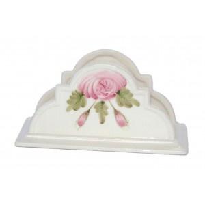 Servilletero de cerámica pintado a mano con motivos florales rosas Elaborado artesanalmente Medidas: 15 * 7,5 * 8 cm