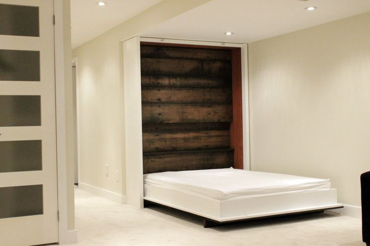 My basement project is done… here is the crown jewel! Reclaimed Wood and Lacquered Panel Murphy Bed (open version)