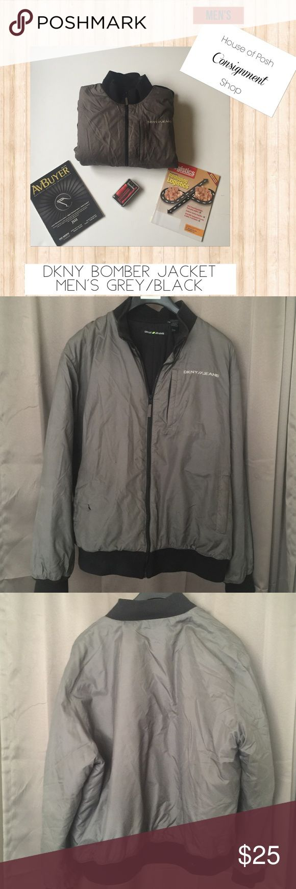 Dkny Puffer Bomber Grey/Black Men's Normal wear. Small blemish on right lower front side. See pic 4. Light dirt from storage. Price will reflect condition. DKNY Jackets & Coats Puffers