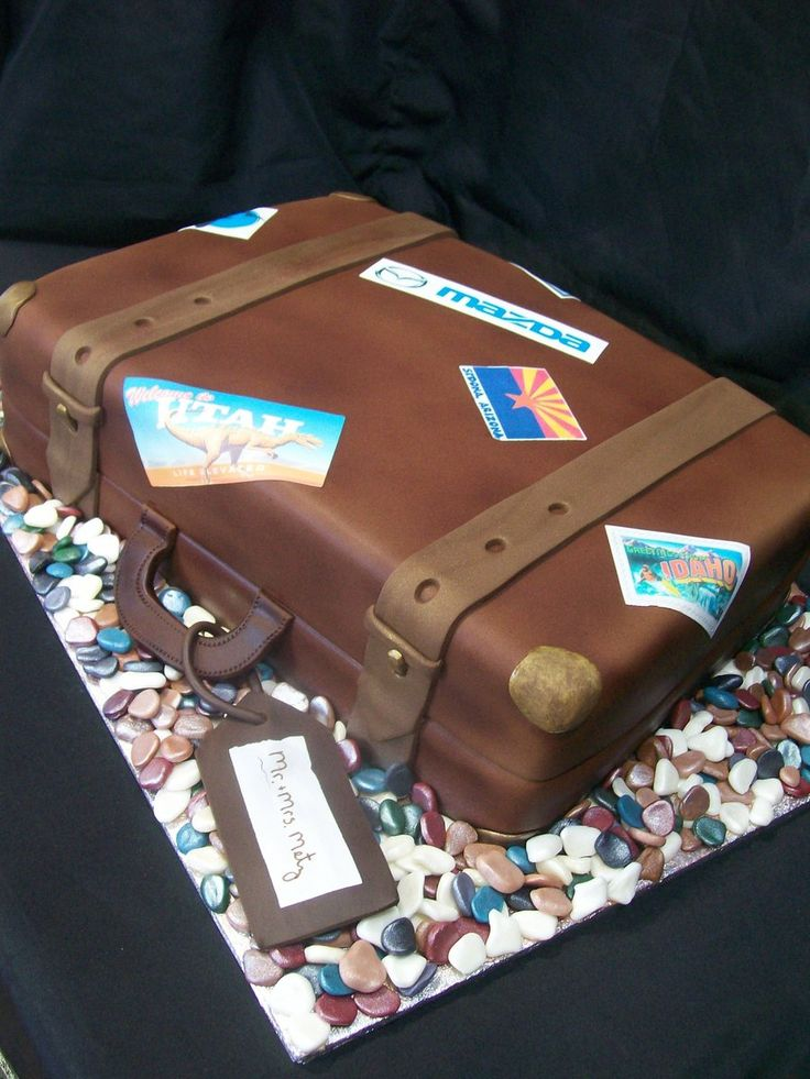 Vintage Suitcase This cake was done for a couple who was married on a 6000km road trip. Each patch on the suitcase represents a stop on...