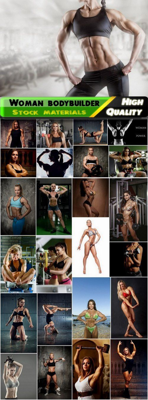 Woman bodybuilder with muscles in sport gym - 25 HQ Jpg