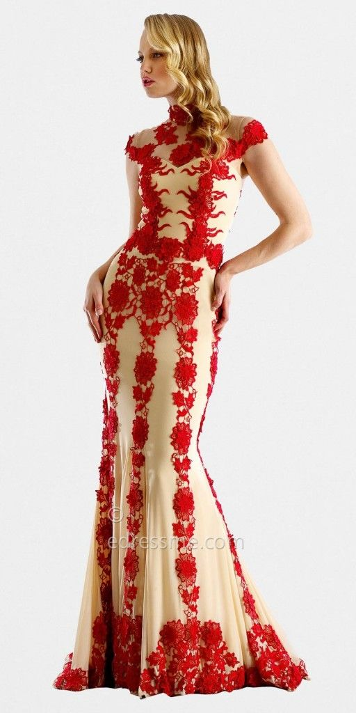 Sheer Rose Lace Evening Gowns