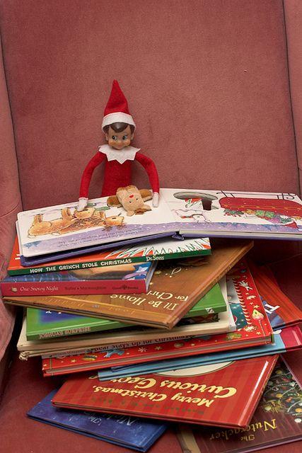 shelf elf reading: Christmas Books, Kids Books, Books Club, Elf On Shelf, Reading Books, Shelf Ideas, Elf On The Shelf, Shelf Reading, New Books