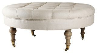 Masion Tufted Round Ottoman - traditional - ottomans and cubes - by Zentique