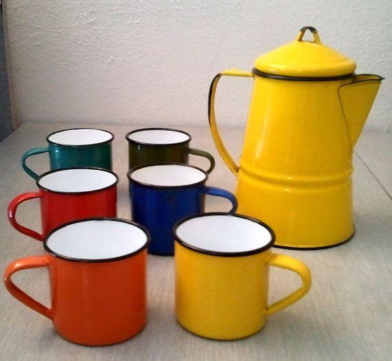 Vintage Colorful Enamelware Tea Set Japan  by ThriftyTrendz, #teapot #teaset #vintage @thrifty trendz