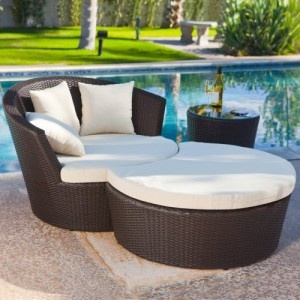 Palm Bay Wicker Lounge Chair With Ottoman And End Table   Outdoor Wicker  Furniture At Hayneedle