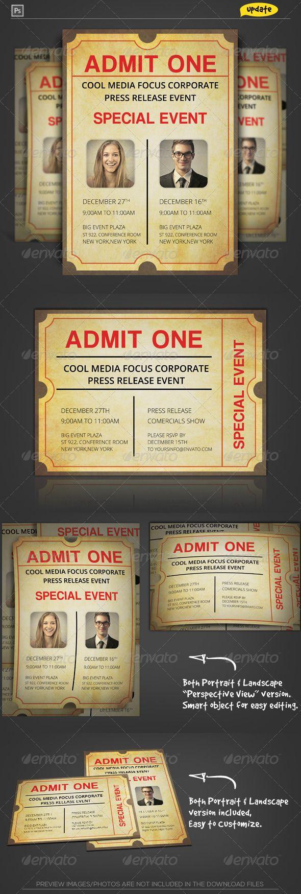 Admit One Ticket Corporate Invitation 144 best