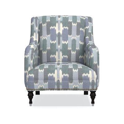 Simone Chair, Acoustic Wave, Solid, Batik Blue, Antique Brass