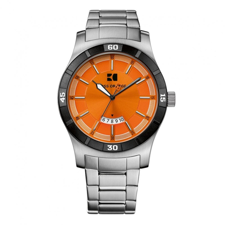 17 best images about hugo boss watch men the hugo boss watches mens silver orange face bracelet strap watch