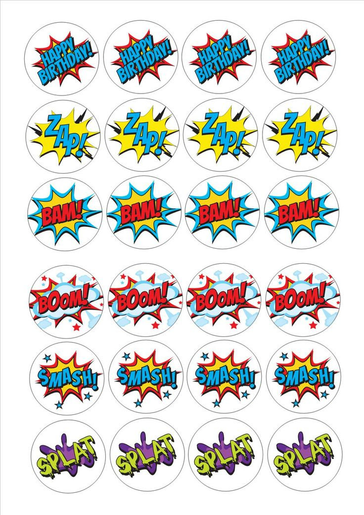 24 Cake Topper decorations 6 designs pow super hero by Print4you, £1.59