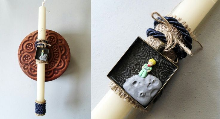 Little prince clay miniature easter candle