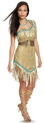 This costume includes a one shoulder dress with fringe, and a necklace. Does not include shoes. This is an officially licensed Disney Pocahontas costume.