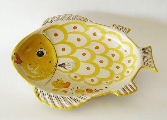 Vintage Italian Majolica Solimene Vietri Sul Mare Fish by belmodo, $110.00
