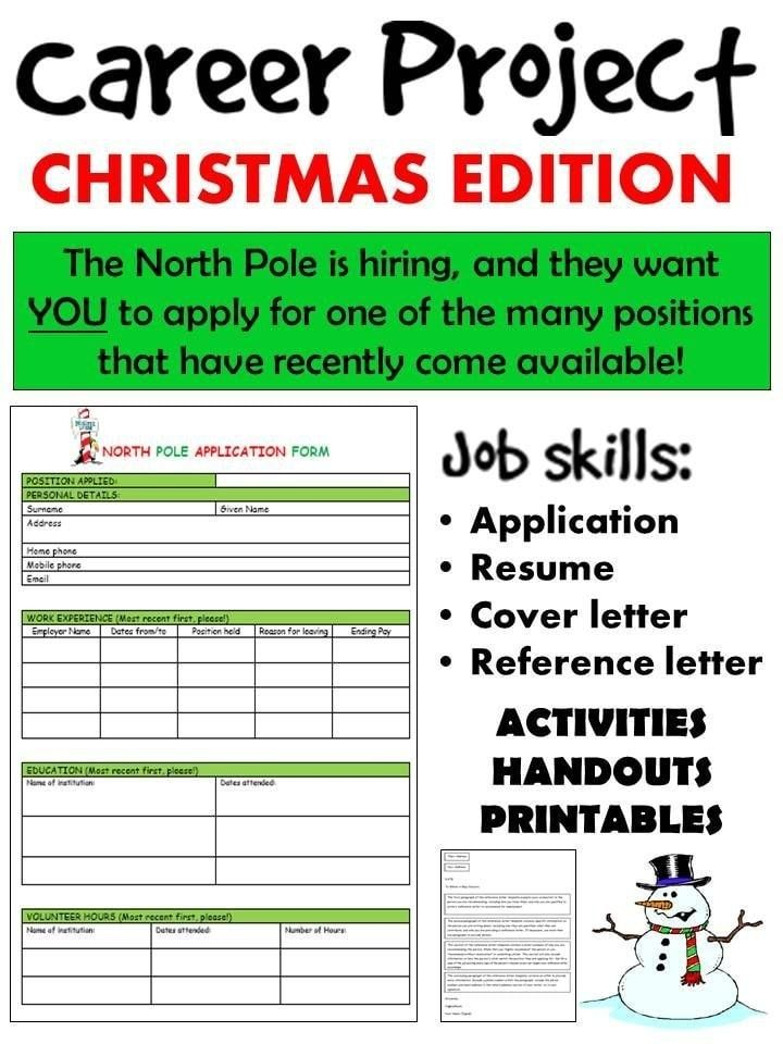 For those practical and life skills lessons. If your students are getting ready to jump into the real world, help them be successful by creating resumes.Spruce it up by finding them a job at the North Pole!Your students are intelligent, reliable, and adaptable - Santa looks for all those qualities in his future elves.. SECONDARY/ENGLISH/BUSINESS