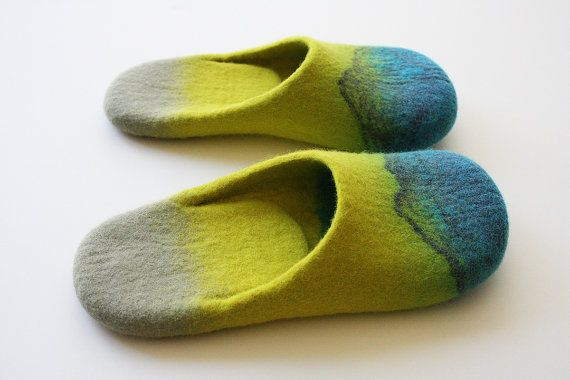 Acapulco Felted wool slippers with neon yellow and by Onstail, $90.00